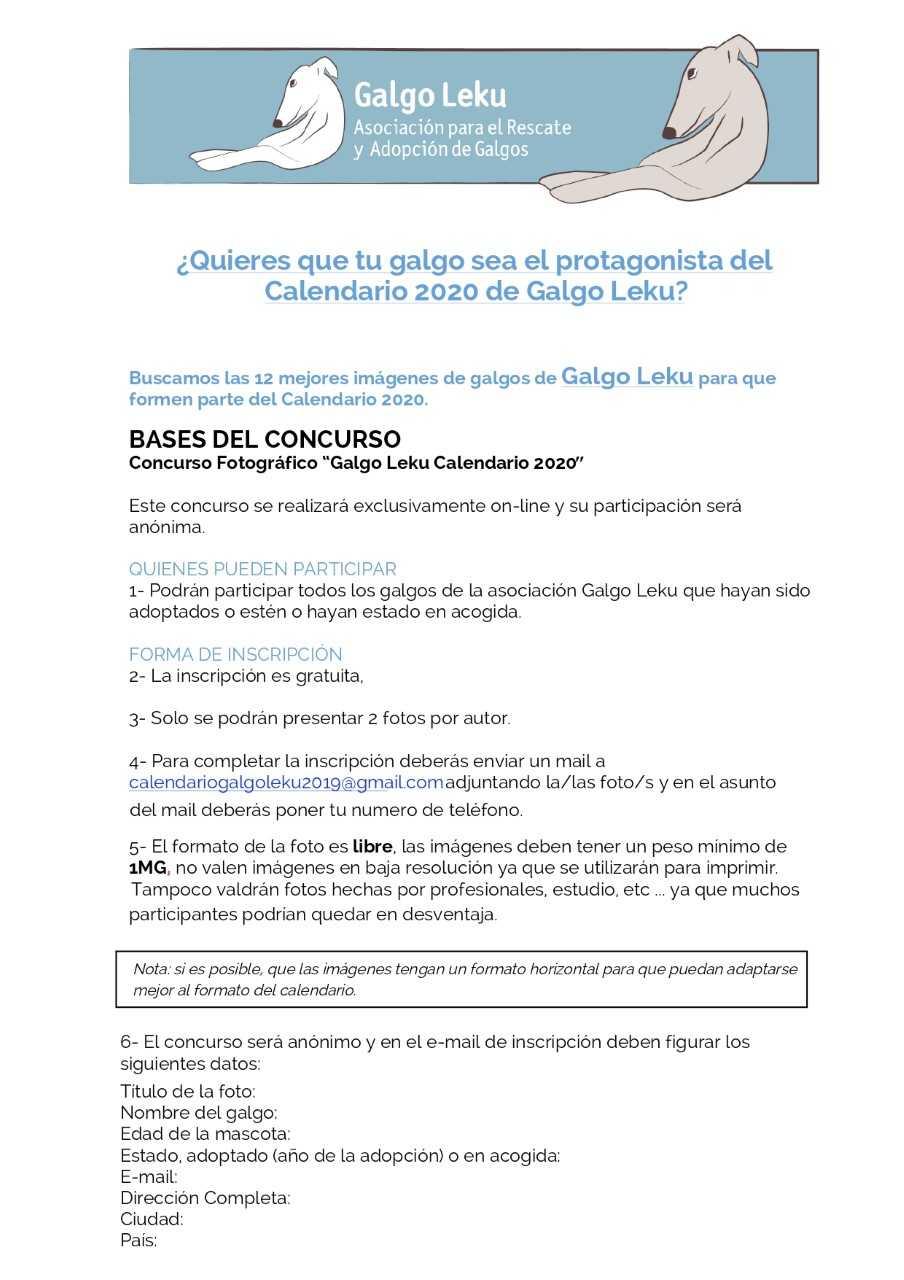 Calendario 2020 Para Poner Foto.Galgo Leku Adopcion Y Rescate De Galgos